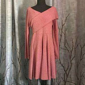 Dresses & Skirts - Heathered Rose Off-Shoulder Wrap Sweater Dress